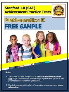 Click here to download a FREE SAMPLE of SAT-10 Achievement Practice Test in Mathematics for Kindergarten. http://misterdeeonline.com/admin/sat-10-practice-tests-for-kindergarten-3.htm
