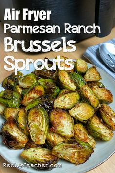 Perfectly roasted air fryer Brussels sprouts seasoned with Parmesan and Ranch dressing mix. Brussels sprouts have never tasted better! Parmesan, Sprout Recipes, Vegetable Recipes, Vegetable Snacks, Fried Brussel Sprouts, Cooking Recipes, Healthy Recipes, Cooking Food, Cooking Tips