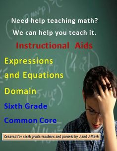 Teaching help for every concept of every standard in the Expressions and Equations Common Core Domain for sixth grade math. It includes 23 multi-day lesson plans with 311 links to free websites and videos. The videos teach you how to teach each math principle.