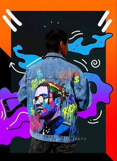 Hand Painted Denim Jeans Oversize Jacket ASAP Rocky Art Street Clothing Custom Denim Hand Drawn Acrylic Denim Unique Gift for Him For Her Painted Denim Jacket, Painted Jeans, Painted Clothes, Denim Jacket Men, Hand Painted, Men Shorts, Men's Denim, Denim Jackets, Custom Clothes