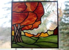 Fall Tree Landscape Stained Glass Panel 2, Fall Colors, Stained Glass Window by BerlinGlass on Etsy
