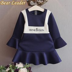 Navy Blue Princess Dress Flare Sleeves Letter Design for Baby Girl Dress Children Clothes $17.99   => Save up to 60% and Free Shipping => Order Now! #fashion #woman #shop #diy  http://www.bbaby.net/product/bear-leader-autumn-girls-dress-navy-blue-princess-dress-flare-sleeves-fashion-letter-design-for-baby-girl-dress-children-clothes