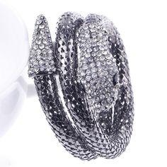 Black Cool Punk Snake Coiled Alloy Stretch Rhinestone Crystal Bracelet