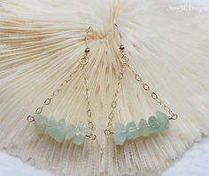 Aquamarine Earrings Nuggets Wire Wrapped on Gold by AmyJillDesigns, $38.00
