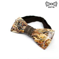 OKTIE Wood Bowtie Handmade Bow Tie Handcrafted-Acrylic painting Moth #OKTIE #BowTie