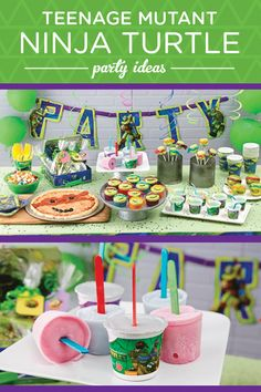 Booyakasha! Throw an unforgettable party inspired by everyone's favorite foursome of heroes in a half shell. Serve up Yoplait Teenage Mutant Ninja Turtles yogurt is by freezing cups with colorful sticks to create these easy and totally radical Bo Staff Fro-Yo Pops. Another fun idea is to add club soda to each cup to transform them into refreshing Mutagen Ooze Sippers.