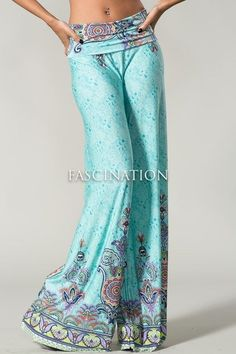 Just ordered these and can't wait to get them! Sexy Fold Over Waist Wide Leg Tall Yoga Palazzo Mint Green Paisley Pants S M L Casual Outfits, Cute Outfits, Fashion Outfits, Fasion, Modest Pants, Wide Leg Yoga Pants, Mix Match Outfits, Boho Inspiration, Comfy Pants
