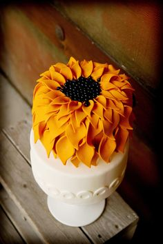 sunflower yellow wedding cake
