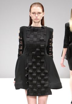 Dress with sculptural silhouette & 3D weave detail; experimental fashion construction // Anja Mlakar