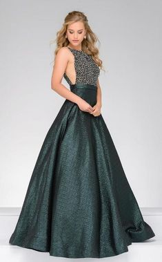 Jovani -  49220  Sophisticated Beaded Ballgown/ Long Prom Dress    (Brocade fabric, Fully beaded bodice, Sleeveless, V-shape back, Sheer mesh panels on the sides, Invisible back zipper with hook and eye closure, Long length, Bateau Neckline, Natural Waistline)