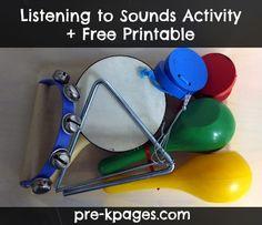 Musical Instrument activity + free recording sheet for science center in preschool, pre-k, or kindergarten.