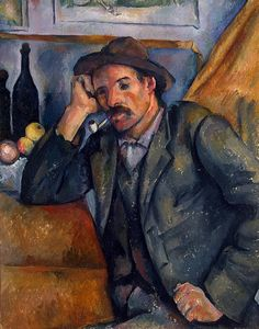 Smoker 1891.  Paul Cezanne. This is a poker-faced portrait, a picture of a man giving nothing away. You don't know if his blank expression conceals depths of rural wisdom or if he is genuinely vacant. It's the same as looking