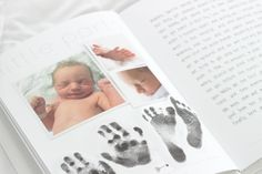 Cait shows how she documents her son Rowan's first year in his Mushybook baby book with footprints and handprints.