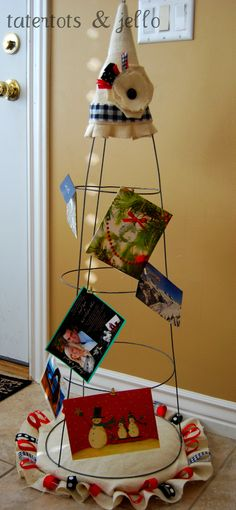 Make a Holiday Card Holder using a tomato cage! NO sewing required!!  -- Tatertots and Jello #DIY #Christmas