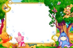 Kids Transparent Frame with Winnie the Pooh Frame Border Design, Boarder Designs, Page Borders Design, Photo Frame Design, Winnie The Pooh Background, Kids Background, Background Clipart, Winnie The Pooh Pictures, Cute Winnie The Pooh