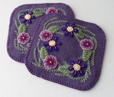 Handmade Purple Blossoms Felted Wool Mug Mats by QuiltShenanigans