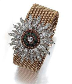 Antique Gold, Platinum, Diamond, Emerald and Black Enamel Bracelet