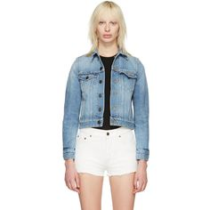 Saint Laurent Blue Denim Love Jacket (€1.865) ❤ liked on Polyvore featuring outerwear, jackets, blue, embroidered jacket, studded jacket, button jacket, embroidered jean jacket and blue denim jacket