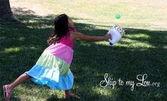 How to make an outdoor catch game with recycled bottles #game #kids #activity skiptomylou.org