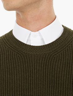 Éditions MR,Khaki Ribbed Wool Sweater,KAKI,3
