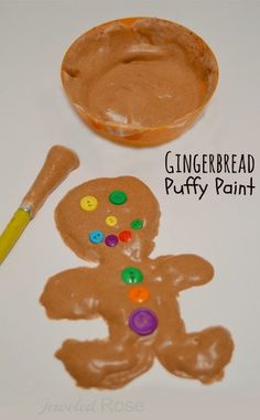 Christmas Kids Activity - Kids will love making Christmas Crafts with this wonderfully scented Gingerbread Puffy Paint Recipe! This recipe for play is perfect for Toddler, Preschool, Kindergarten, and older age children during the month of December. Gingerbread Man Activities, Gingerbread Crafts, Christmas Activities For Kids, Preschool Christmas, Christmas Gingerbread, Noel Christmas, Preschool Crafts, Christmas Crafts, Crafts For Kids