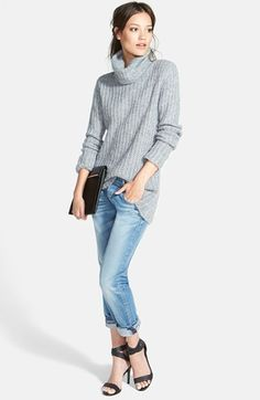 oversized turtleneck sweater + relaxed skinny jeans