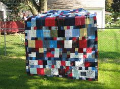 REPURPOSED CLOTHING MEMORY QUILT- QUEEN SIZE by katherineniccum for $350.00