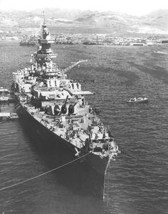 Battleship cruiser USS Guam (CB-2) at Pearl Harbor, February 21, 1945.