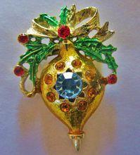 Vintage Extravagant 1950's Enameled Rhinestone Ornament/Bulb Pin Brooch