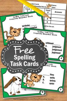 In this spelling activities packet, you will receive six free spelling task cards for students to practice commonly misspelled words. #commonlymisspelledwords #4thgrade #spellingactivities #commonlymisspelledwordsactivities #frequentlymisspelledwords #classroom #student #products #free #freebies #teacherfreebies #homeschoolfreeprintables #tptfreebies