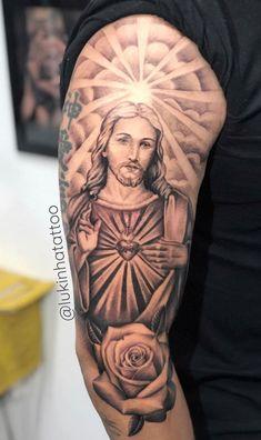 Christian Sleeve Tattoo, Jesus Tattoo Sleeve, Religious Tattoo Sleeves, Religious Tattoos, Sleeve Tattoos, Forarm Tattoos, Cool Forearm Tattoos, Hand Tattoos For Guys, Dope Tattoos