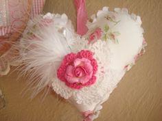 Valentine Heart Pillow Decoration-Retired Rachel Ashwell Pink Rose Fabric-Crocheted Doileys with Paper Heart-Feather and Pin Valentine Heart, Valentine Crafts, Valentine Ideas, Shabby Chic Hearts, Pink Images, Fabric Hearts, Heart Pillow, I Love Heart, Heart Crafts