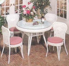 Wicker Dining: La Bistro Set . $995.00. Wicker Bistro Set: -You can select from white wicker, honey natural finish, or antique brown wash. -Armless wicker dining chairs provide comfort, stability, and just the right size for those smaller fit areas. Wicker Bistro Set Measurements: *Each Wicker Dining Chair: 18 Inches Wide, 20 Inches Deep, 35 Inches High. *Dining Table: 29 Inches High, 42 Inches Round. (Assembly Required on the Table only.) Our wicker bistro set is in stock and c...