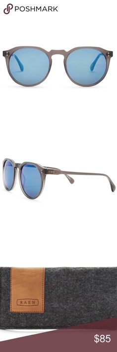 """RAEN """"Remmy"""" Unisex Retro Round Sunglasses Raen Remmy Model Sunglasses Smoke Grey Frames, Cobalt Blue Mirrored Lenses  New with original case and packaging. See last photo for measurements and product details. Happy to trade. RAEN Accessories Sunglasses"""
