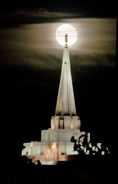 """Gilbert Temple.  So pretty when it is all lit up at night.  I think that might be the """"Super Moon"""" the other night?"""
