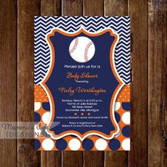 Orange and Blue Baseball Baby Shower Invitation  by MommiesInk, $14.00