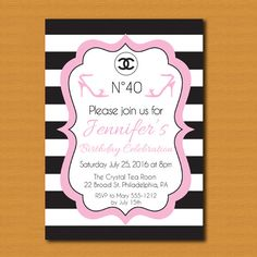 SALE! Chanel Inspired Party Invitation, Chanel Birthday Invitation, Chanel Bridal Shower, Chanel Baby Shower