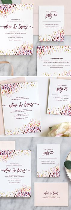 Gorgeous watercolor wedding invitations by Fine Day Press