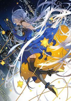 收录于【VOCALOID4 星尘】首本官方画集『银河美术馆』✡ 星愿StarWish曲绘~
