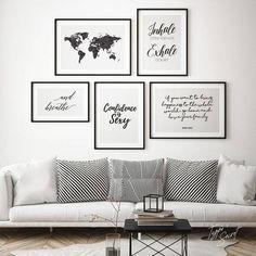 Scandinavian Style Wall Decor Idea - Home Decor Interior Inspiration Wand, Living Room Art, Zen Zen, Zen Yoga, Gallery Wall, Frame Gallery, Bedroom Decor, Interior Design, Map Art