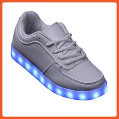 Topteck Women Men USB Charging LED Light Up Shoes Flashing Sneakers White -  Sneakers for women 83b0aabee92fe