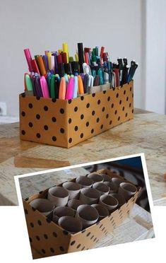 Ideas for diy desk organization pens art supplies Diy Storage Boxes, Diy Makeup Storage, Desk Organization Diy, Diy Desk, Craft Storage, Storage Caddy, Storage Ideas, Shoe Caddy, Organizing Tips