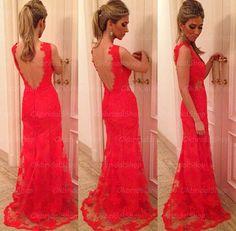 sexy lace prom dress, red prom dress, lace prom dress, mermaid prom dress, best