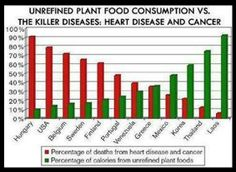 "From Dr. Joel Fuhrman's book, ""Eat to Live,"" page chart showing that consumption of calories from unrefined plant foods correlates with less cancer and heart disease. Nutrition For Runners, Plant Based Nutrition, Plant Based Diet, Plant Based Recipes, Food Nutrition, Nutrition Store, Nutrition Guide, Laos, Stress"