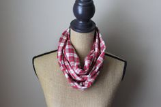 Plaid Infinity Scarf  Red And White Flannel Scarve  by UrbanScarfs