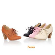 Women's Pumps Chunky High Heel Lace Up Oxfords Ankle Bootie US Size 4-10 S409