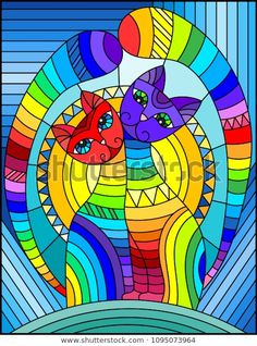 Imagens, fotos stock e vetores similares de Illustration in stained glass style with abstract geometric rainbow cat - 788027848 Stained Glass Patterns, Stained Glass Art, Geometric Cat, Sun Illustration, Rainbow Photo, Cat Colors, Background Vintage, Red Background, Art Abstrait