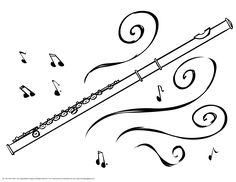 Images Of Musical Flute Coloring Page For Little Ones While Older Children Are In Band Class