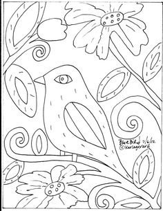 Rug Hooking PAPER PATTERN Blue Bird Folk Art Abstract Primitive KARLA Gerard