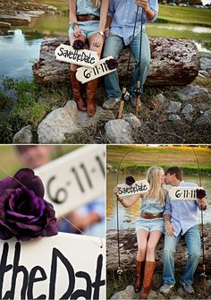 Save the date. Good idea for those who love to fish together.) love the top photo Fishing Engagement Photos, Engagement Couple, Engagement Shoots, Engagement Photography, Wedding Engagement, Wedding Photography, Engagement Ideas, Couple Photography, Fishing Wedding